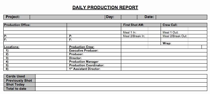 Daily Production Report Template Excel Lovely Free Daily Production Report Howtofilmschool