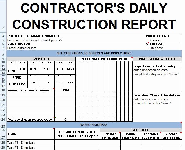 Daily Report Template Excel Inspirational Contractors Daily Report Template Excel Civil