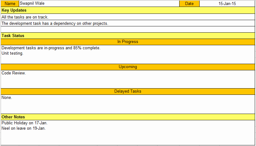 Daily Report Template Excel Inspirational Daily Status Report Template Excel & Word Download Free