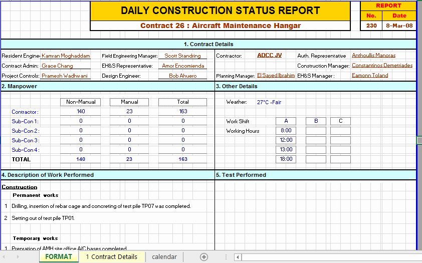 Daily Report Template Excel Lovely Construction Daily Report Template Excel