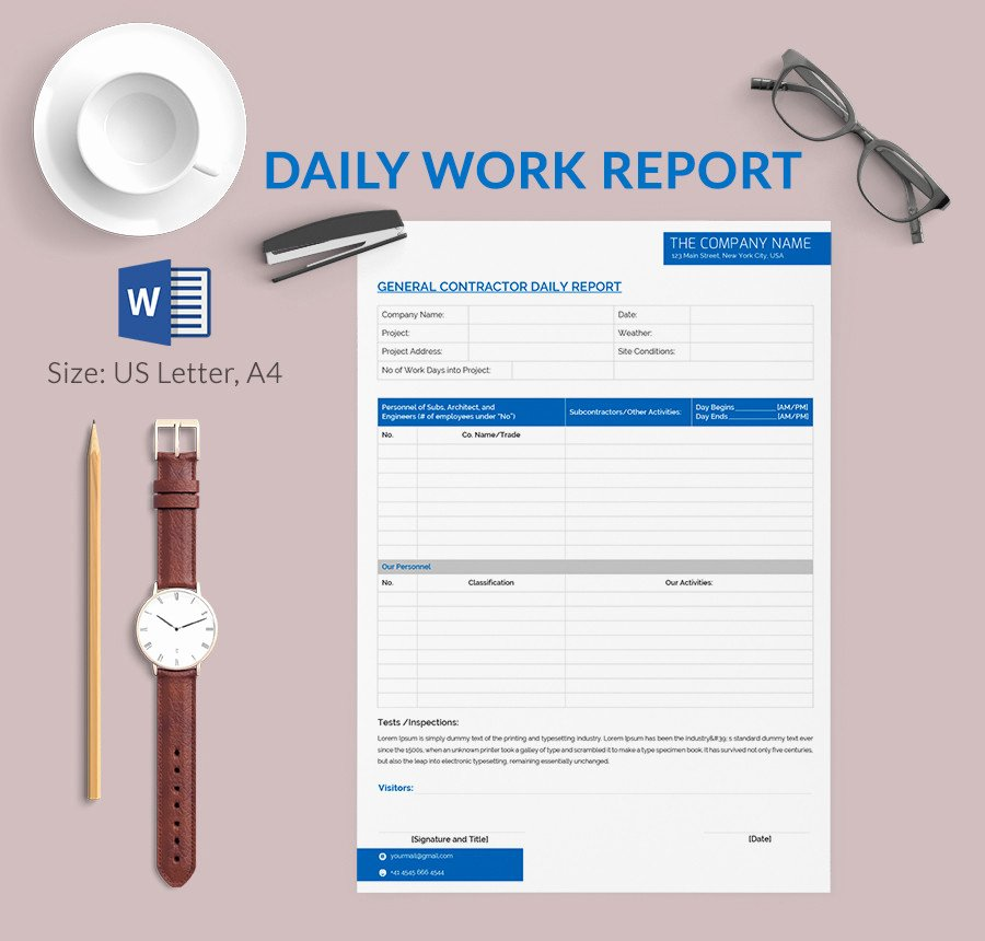 Daily Report Template Excel Lovely Daily Report Template 25 Free Word Excel Pdf