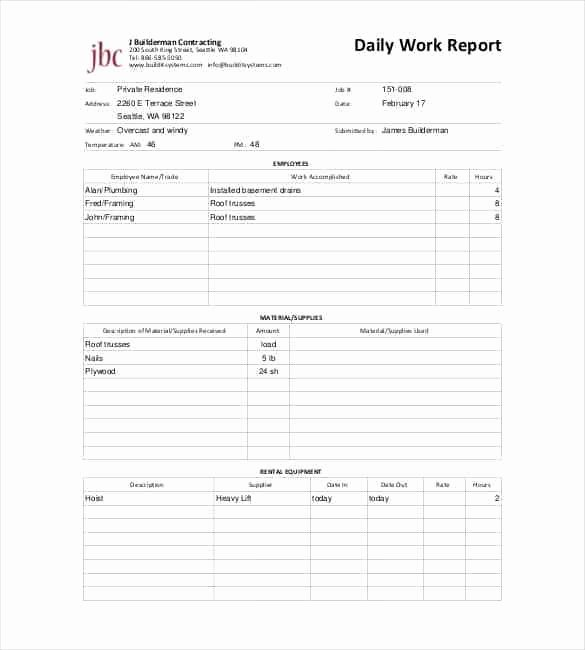 Daily Report Template Excel Lovely Daily Report Templates 8 Free Samples Excel Word