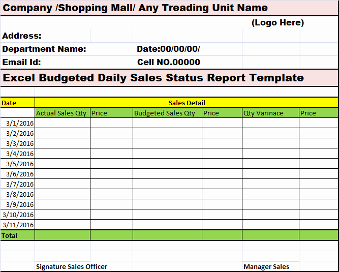 Daily Sales Report Template Best Of Excel Bud Ed Daily Sales Status Report Template – Free