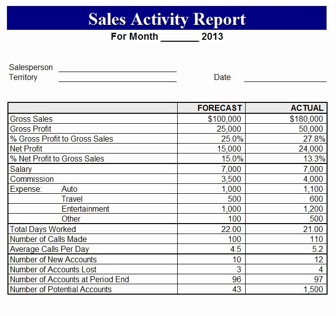 Daily Sales Report Template Fresh 2013 Sales Activity Report Template Sample