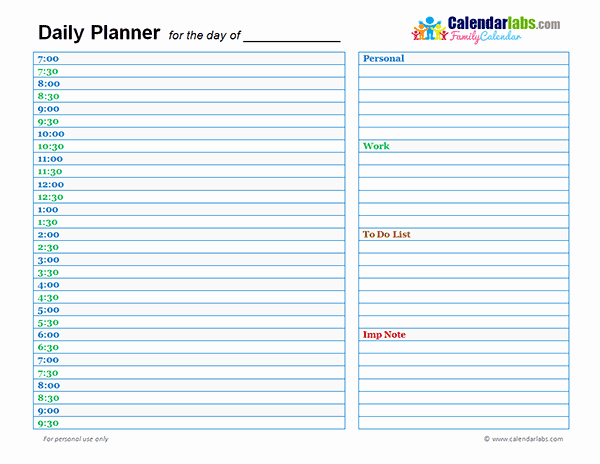 Daily Schedule Template Pdf Fresh 2018 Family Day Planner Free Printable Templates
