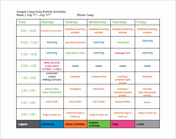 Daily Schedule Template Pdf Unique 9 Camp Schedule Templates Doc Pdf