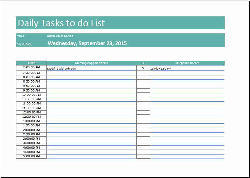 Daily Task List Template Beautiful Daily Task List Template