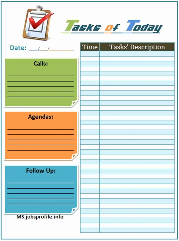 Daily Task List Template Elegant Daily Task List Template Daily Planners