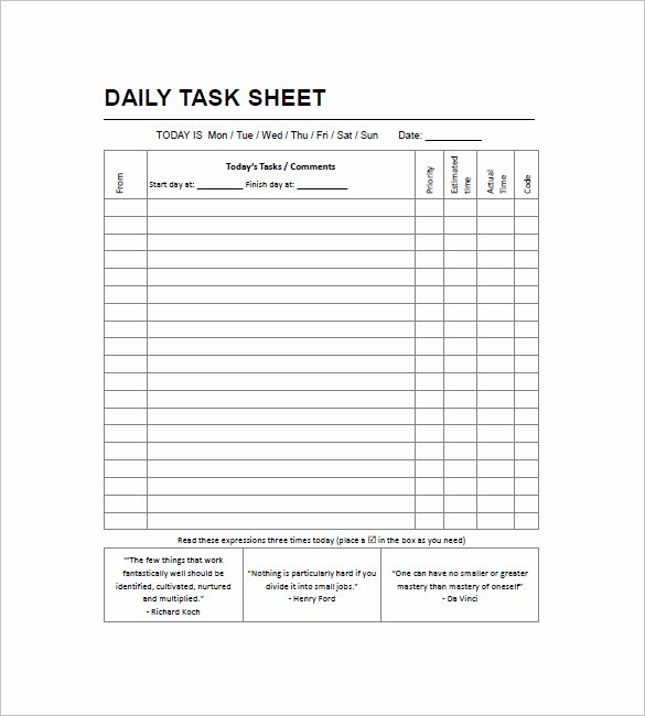 Daily Task List Template Luxury Daily Task List Templates 8 Free Sample Example