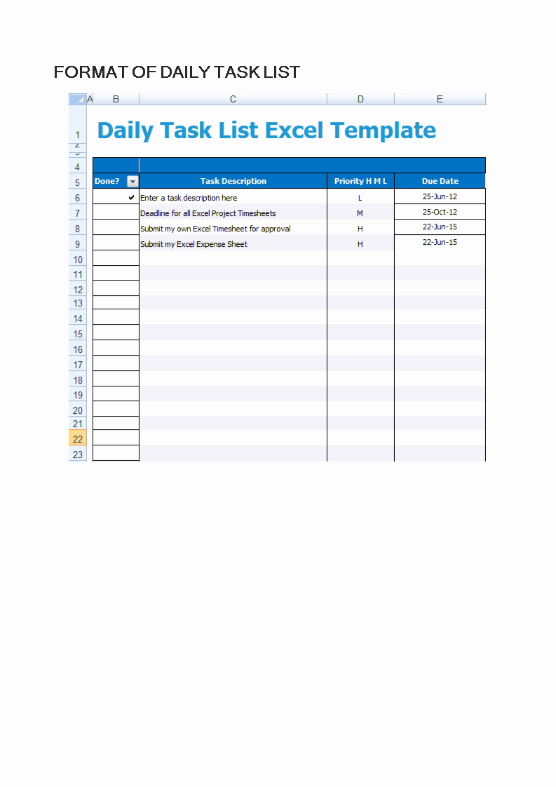 Daily Task List Template New Free Daily Task List