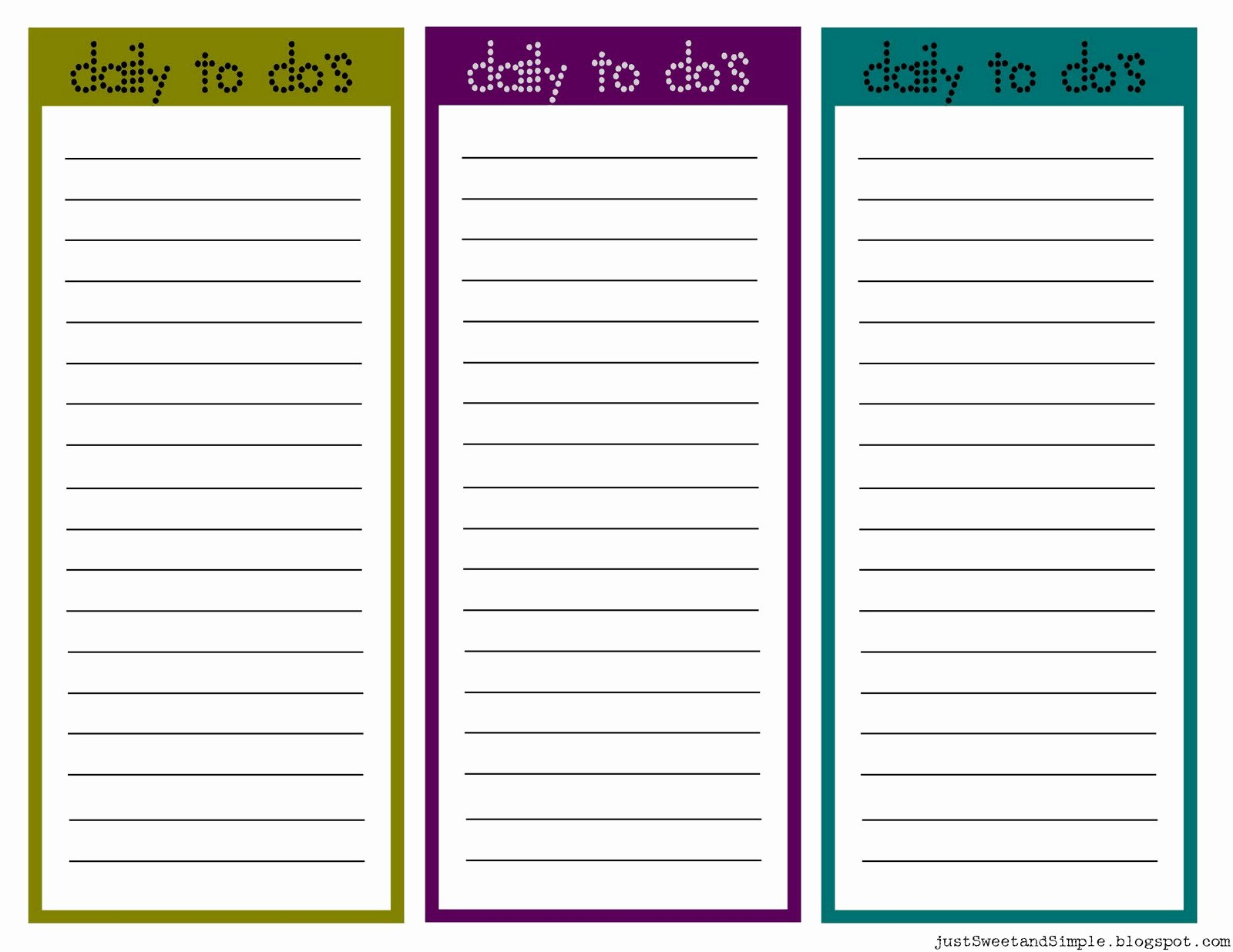 Daily Task List Template Unique Just Sweet and Simple Printable Little Daily to Do List S