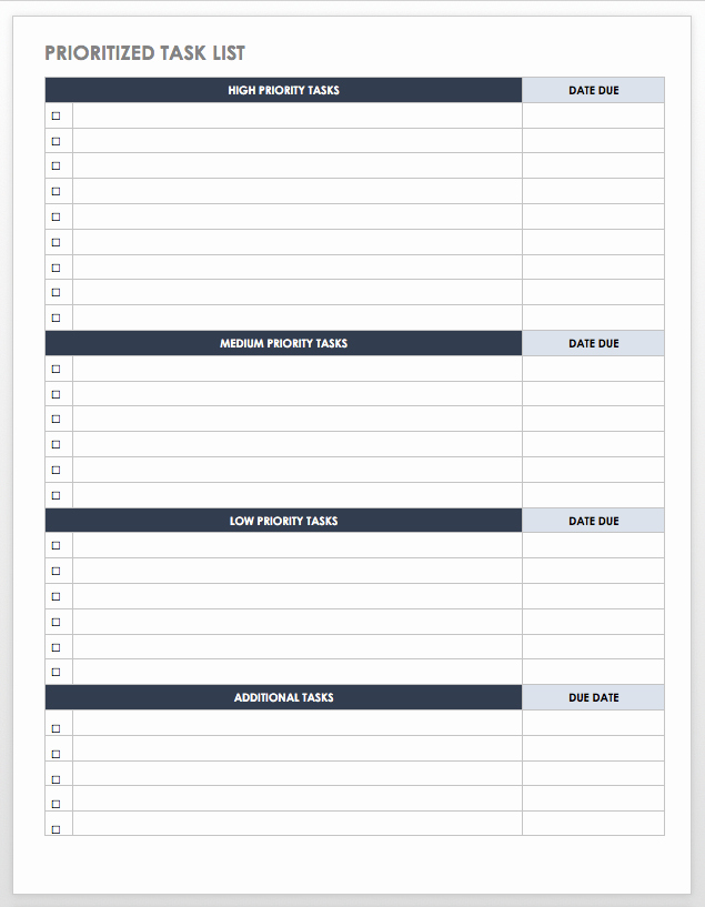 Daily Task List Template Word Elegant Free Task and Checklist Templates