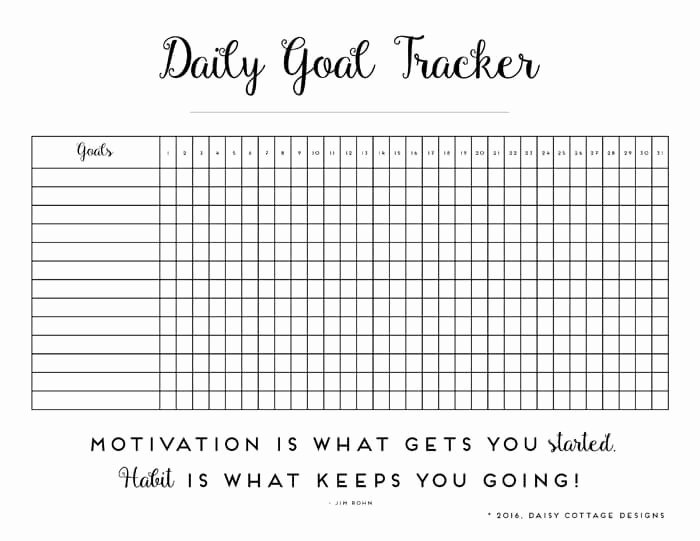 Daily Time Tracking Template Elegant Daily Habit Tracker A Printable Goal Tracker Daisy