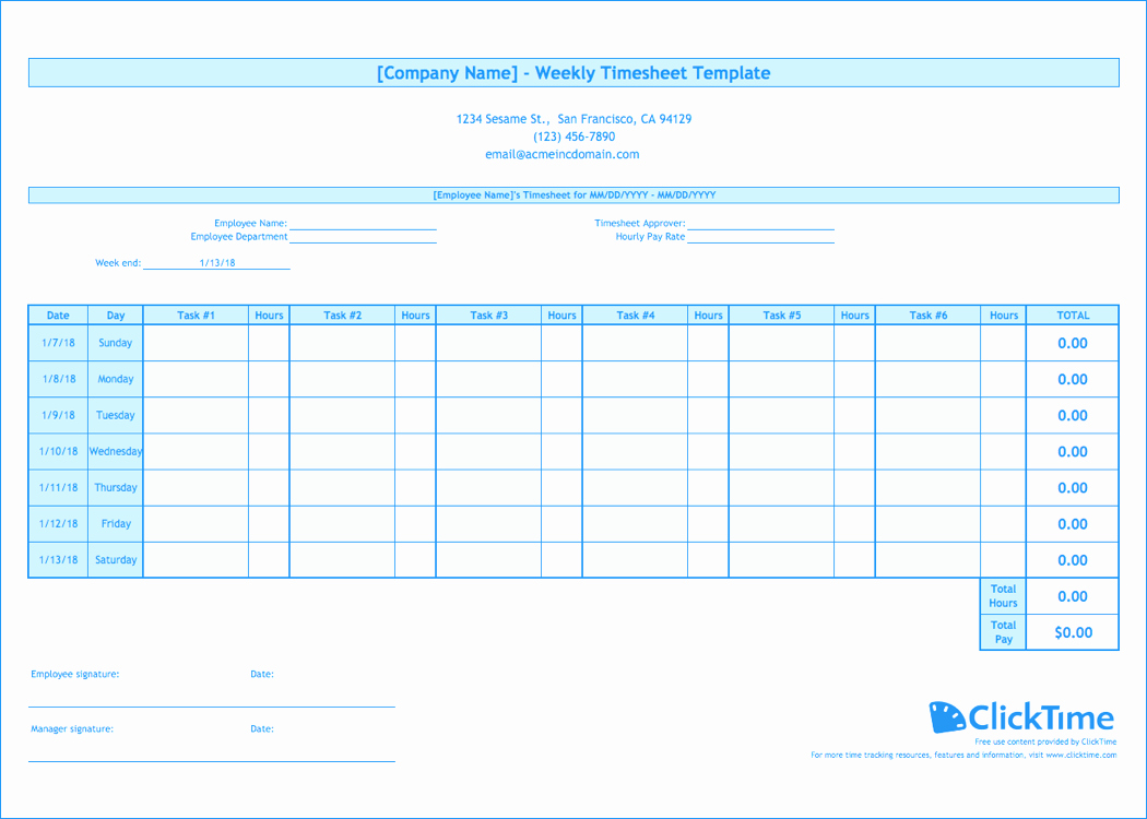Daily Time Tracking Template New Weekly Timesheet Template Free Excel Timesheets