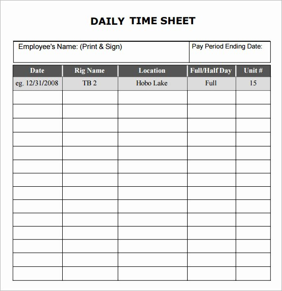 Daily Timesheet Excel Template Awesome Daily Timesheet Template 10 Free Download for Pdf Excel