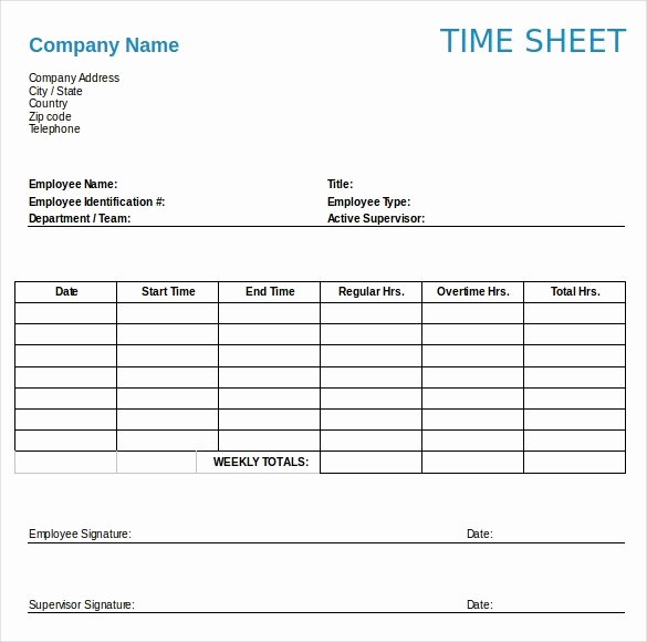 Daily Timesheet Excel Template Best Of 22 Weekly Timesheet Templates – Free Sample Example