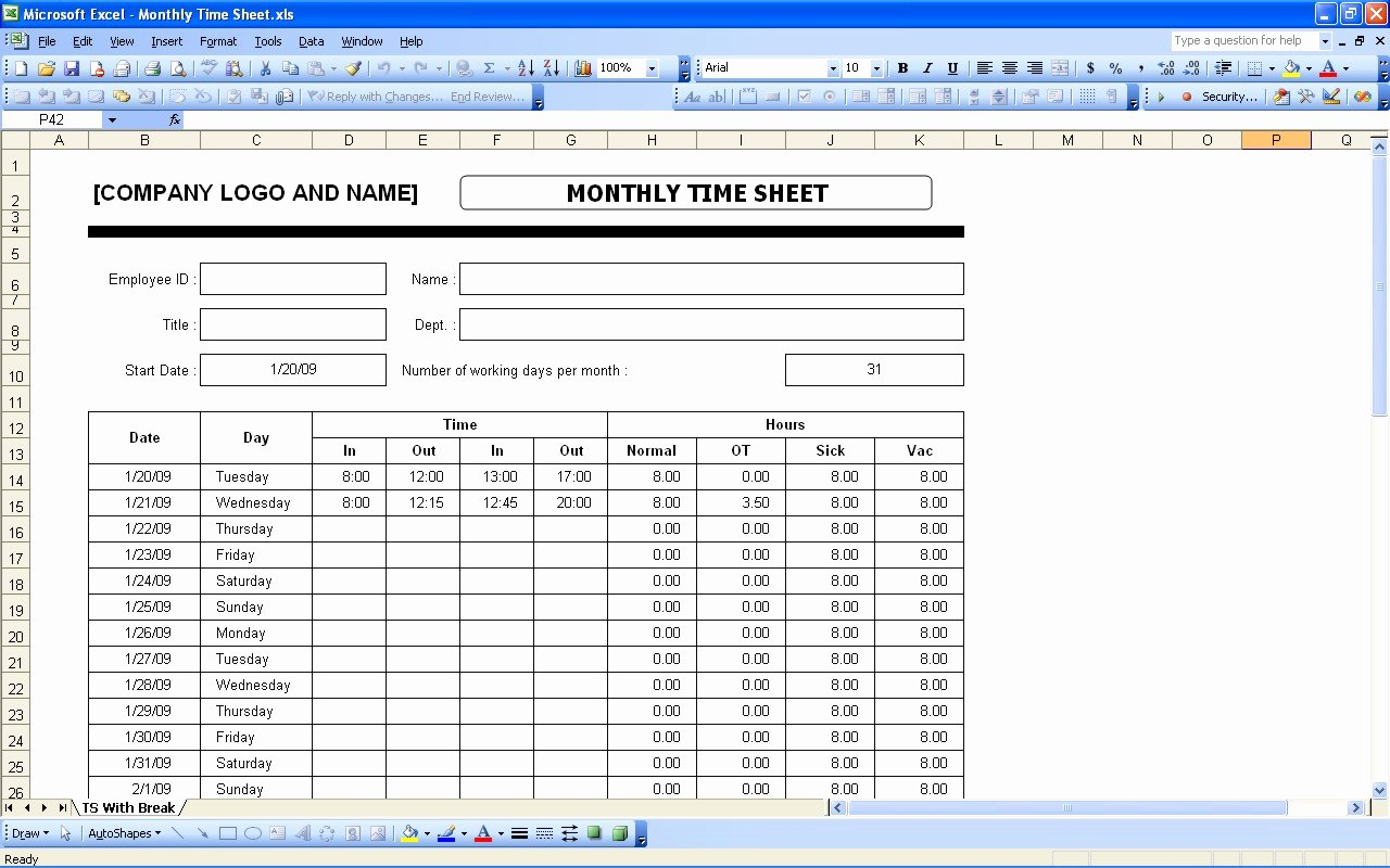 Daily Timesheet Excel Template Elegant Time Sheets