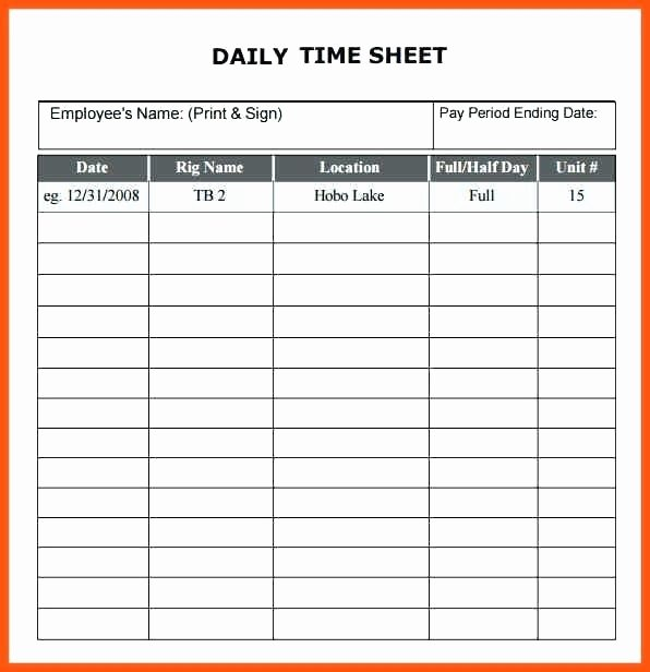 Daily Timesheet Excel Template Lovely Weekly Timecard Template – Spitznasfo