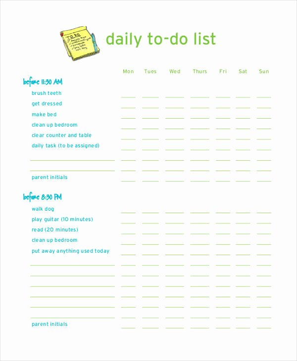 Daily to Do List Template Fresh Daily to Do List Template 7 Free Pdf Documents Download