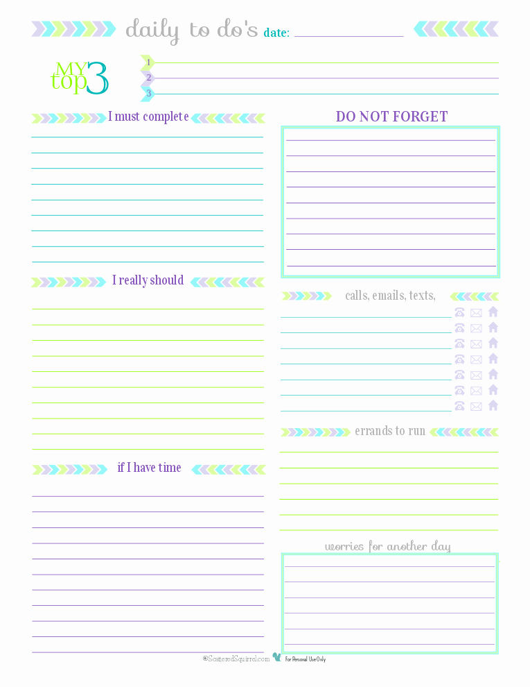Daily to Do List Template New Day 27 to Do List Printables Scattered Squirrel