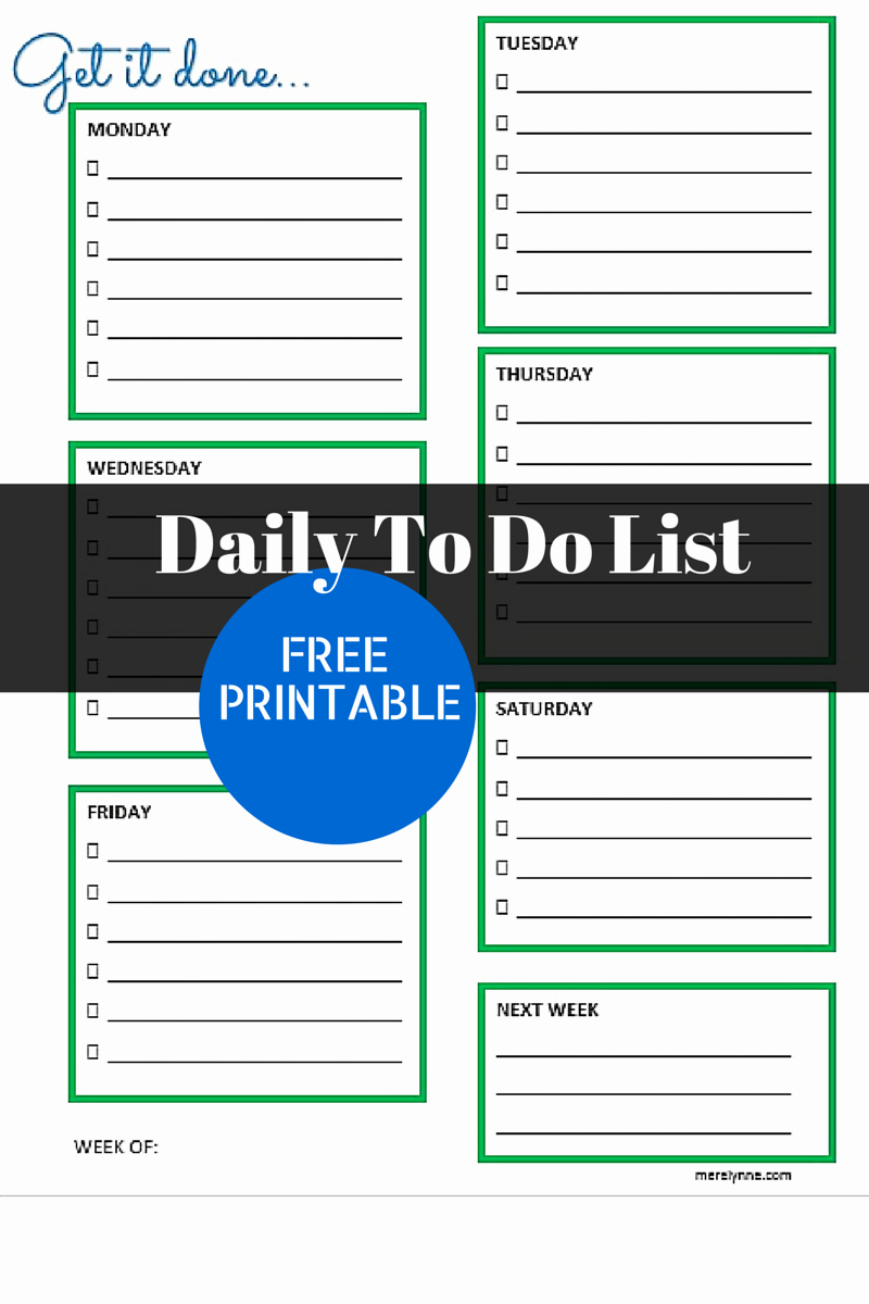 Daily to Do List Template Unique Get It Done Daily to Do List and Free Printable
