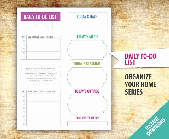 Daily todo List Template Lovely Daily to Do List Planner Template Printable organize