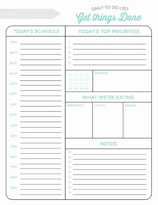 Daily todo List Template Luxury 10 Free Printable Daily Planners