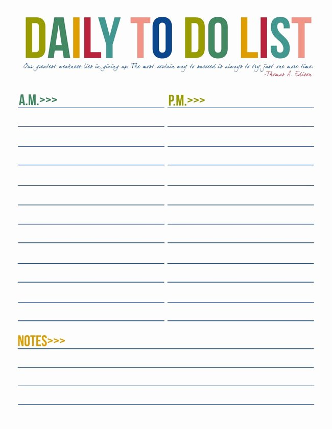 Daily todo List Template New Free Printable to Do List Templates
