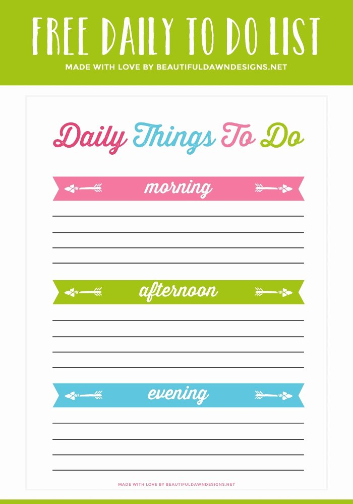 Daily todo List Template Unique Printable Daily to Do List with Times