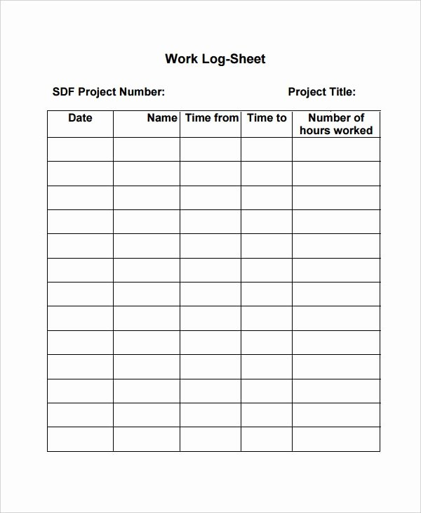 Daily Work Log Template Beautiful Work Log Template – 7 Free Word Excel Pdf Documents
