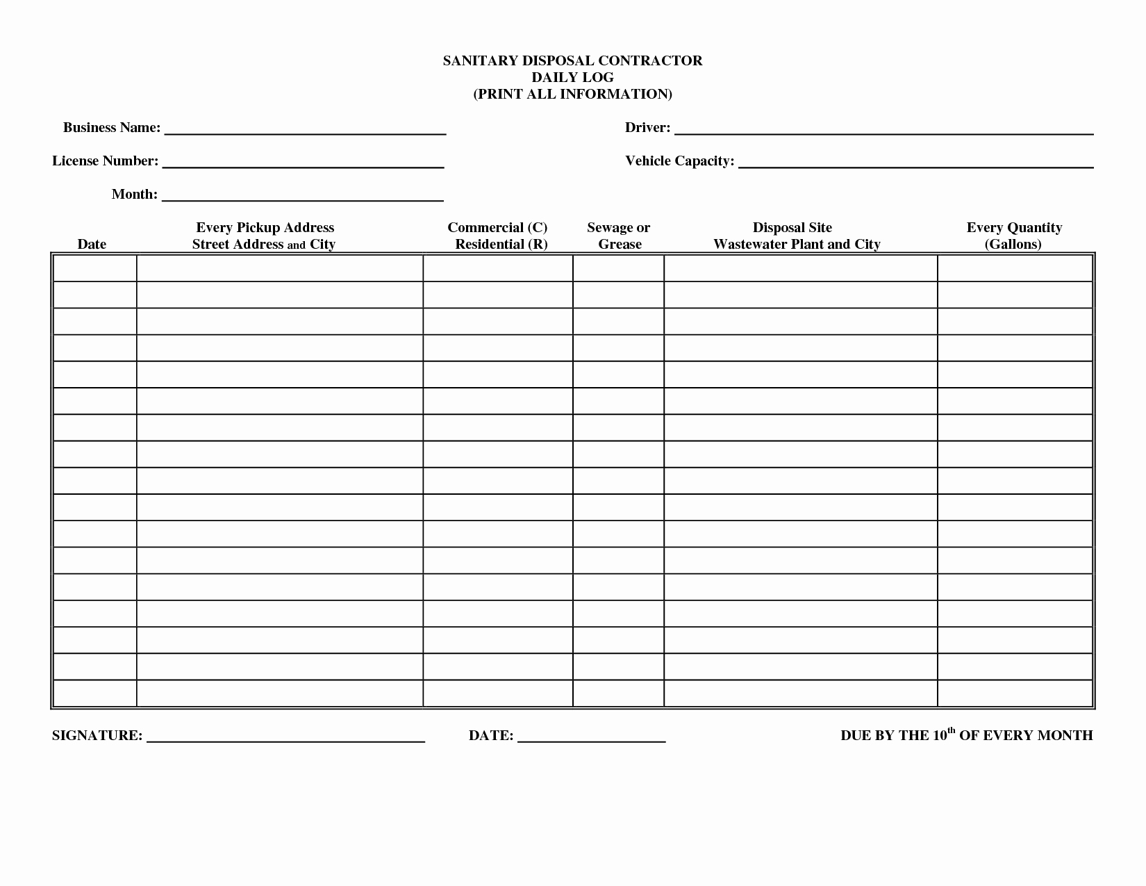 Daily Work Log Template Best Of Driver Daily Log Sheet Template