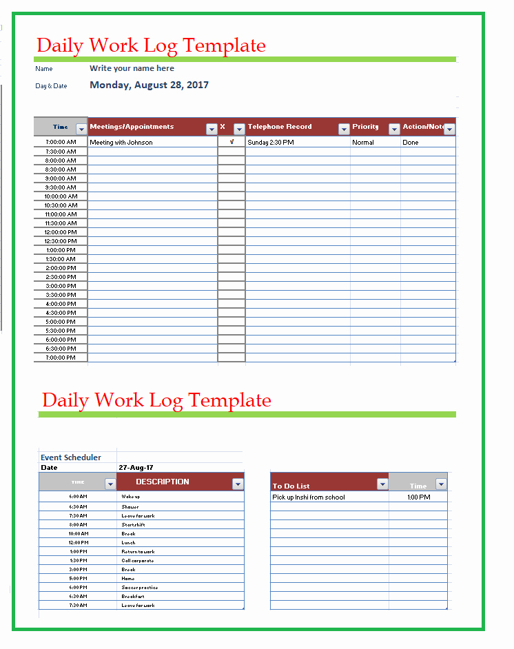 Daily Work Log Template Best Of Free Word Templates