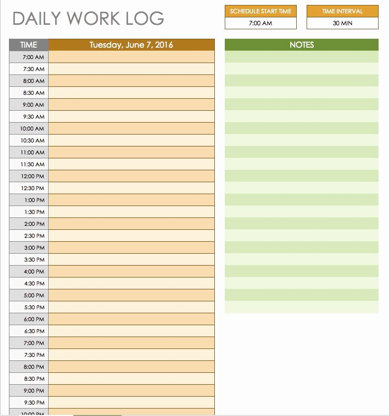 Daily Work Log Template Elegant Free Daily Schedule Templates for Excel Smartsheet