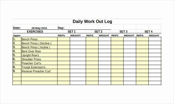 Daily Work Log Template Inspirational Workout Log Template – 14 Free Word Excel Pdf Vector