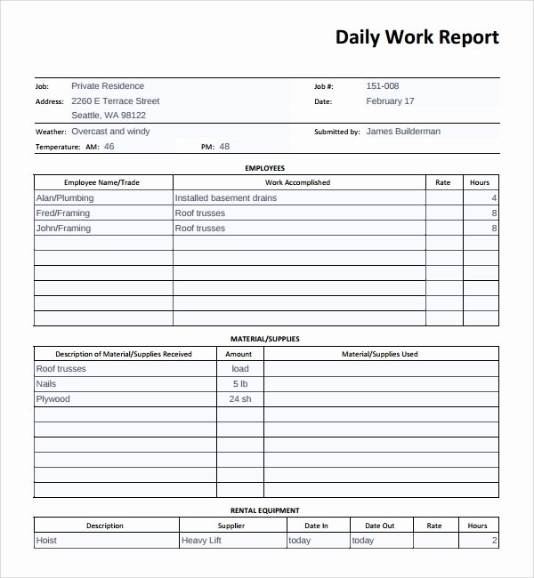 Daily Work Log Template Luxury Sample Daily Work Report Template 16 Free Documents In Pdf