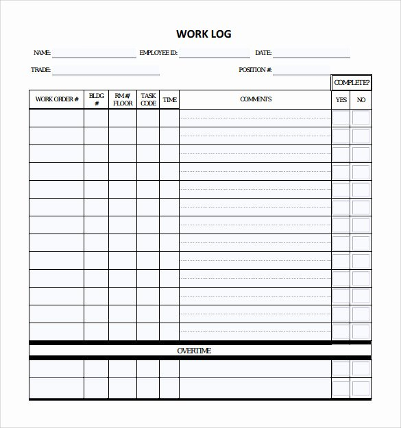 Daily Work Log Template New 16 Sample Daily Log Templates Pdf Doc