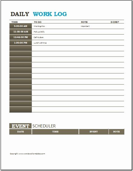 Daily Work Log Template New 3 Best Daily Activity Log Templates