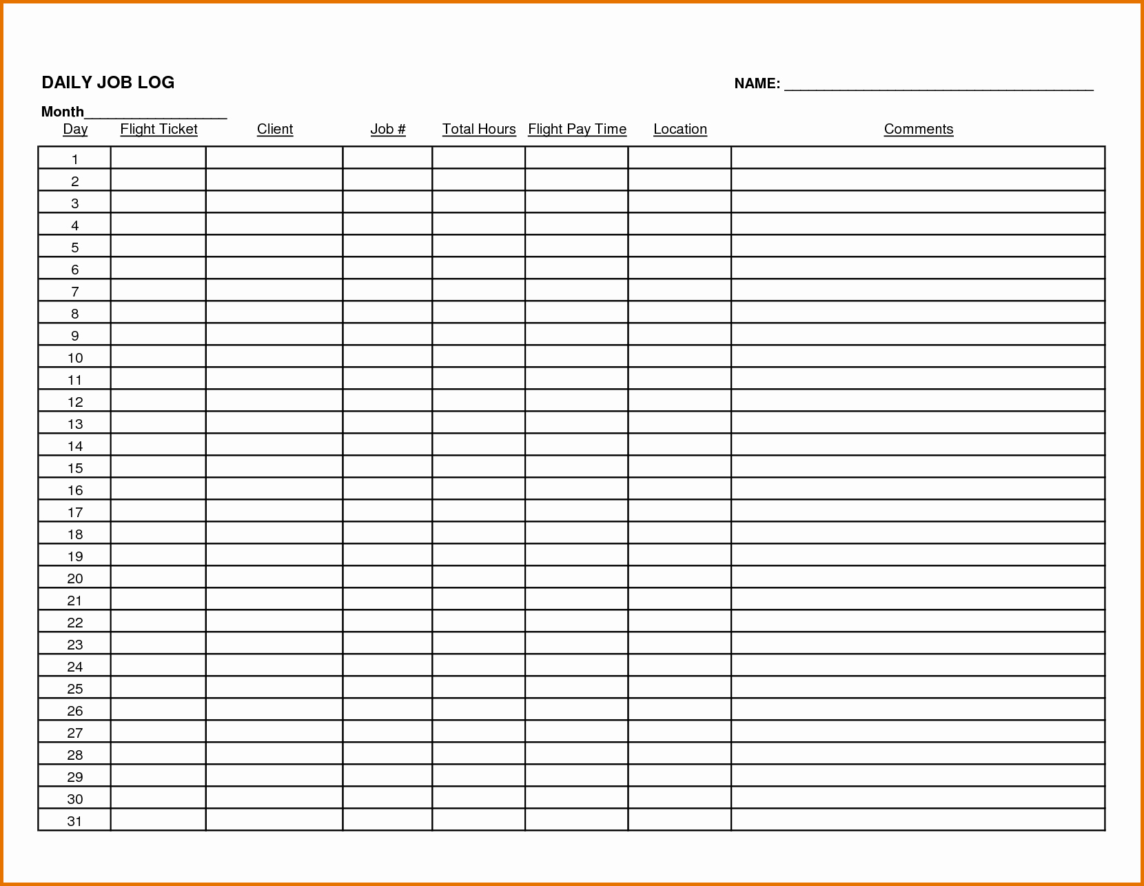 Daily Work Log Template New 8 Daily Work Log Templatereference Letters Words