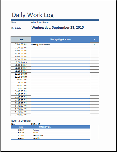 Daily Work Log Template New Ms Excel Daily Work Log Template
