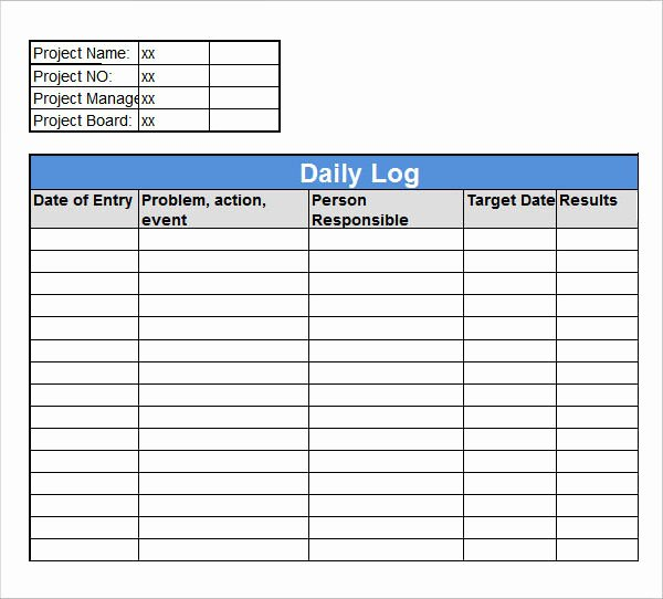 Daily Work Log Template New Sample Daily Log Template 15 Free Documents In Pdf Word