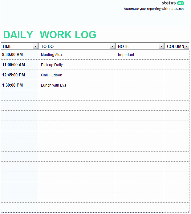 Daily Work Log Template Unique 2 Easy to Use Daily Work Log Templates