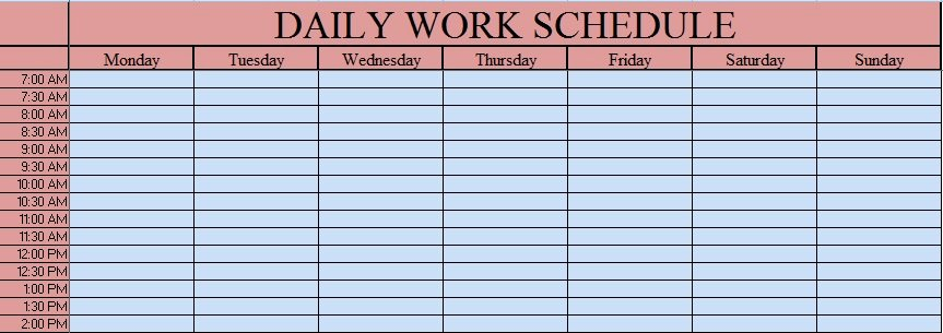 Daily Work Schedule Template Awesome Download Daily Work Schedule Excel Template Exceldatapro
