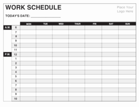 Daily Work Schedule Template Beautiful 5 Daily Work Schedule Templates Excel Excel Xlts