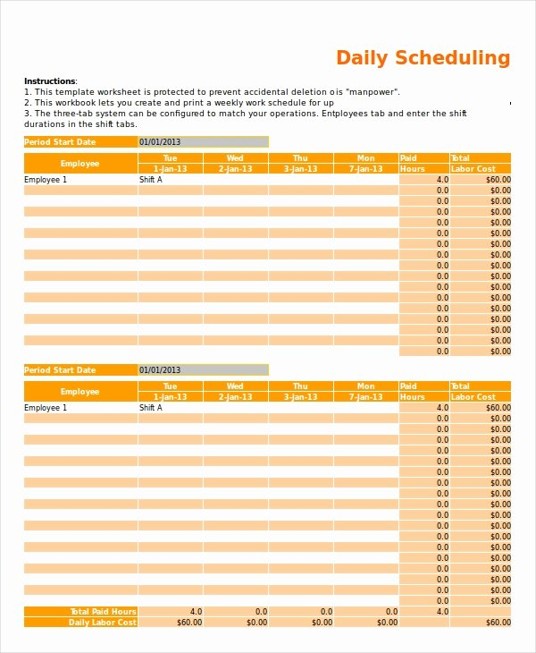 Daily Work Schedule Template Elegant Excel Schedule Template 11 Free Pdf Word Download