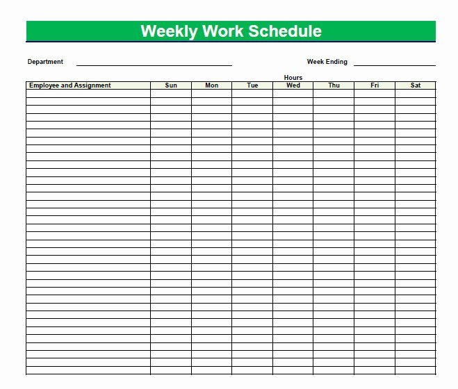 Daily Work Schedule Template Elegant Printable Blank Pdf Weekly Schedules
