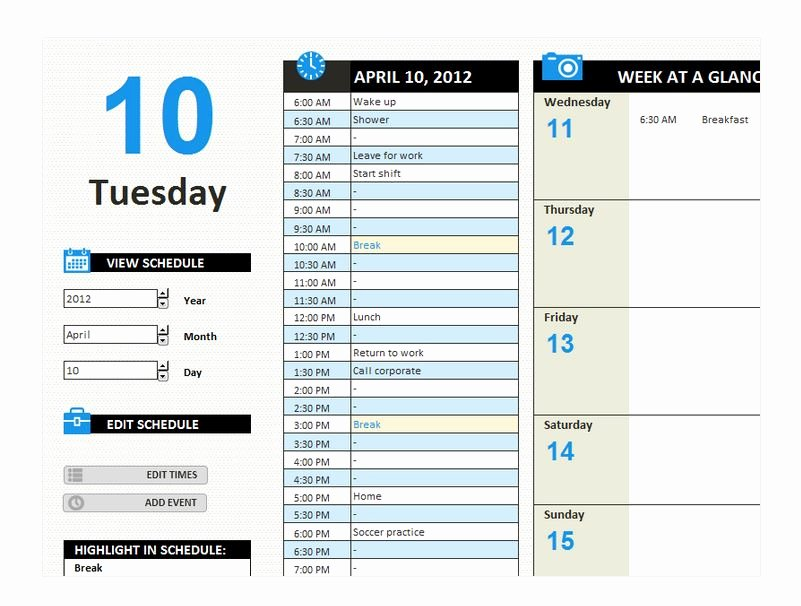 Daily Work Schedule Template Fresh Daily Work Schedule