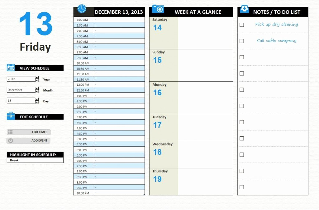 Daily Work Schedule Template Lovely Daily Work Schedule Template Excel