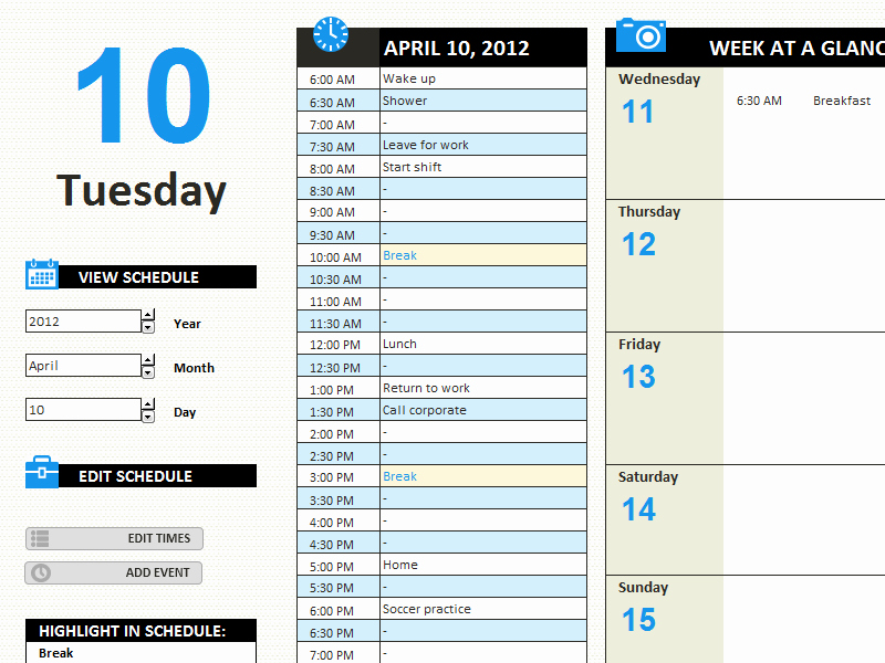 Daily Work Schedule Template Lovely Daily Work Schedule Templates Fice