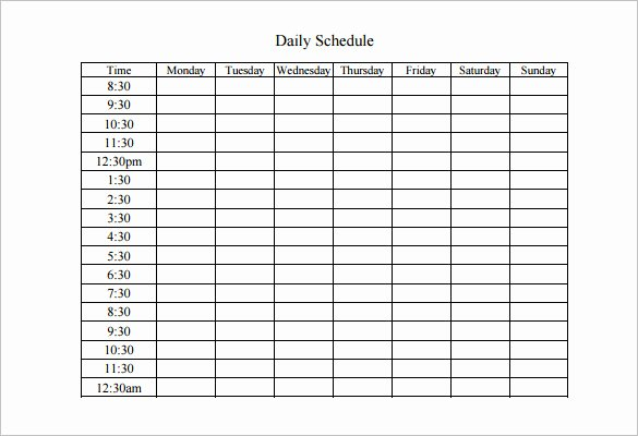 Daily Work Schedule Template Lovely Weekly Work Schedule Template 8 Free Word Excel Pdf