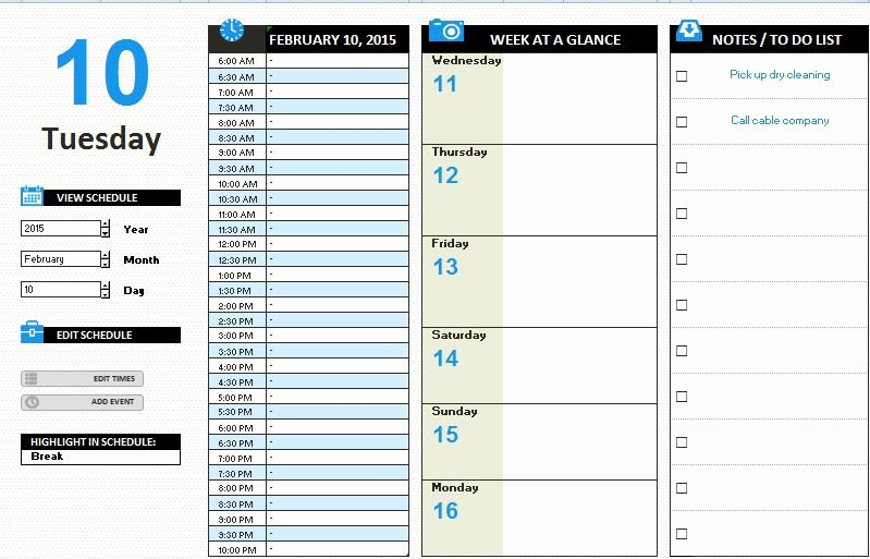 Daily Work Schedule Template Unique Ms Excel Daily Work Schedule Template